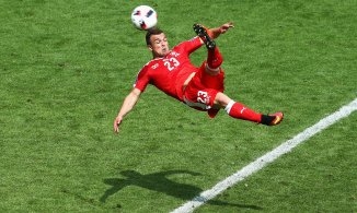 Xherdan Shaqiri levels for Switzerland with a spectacular bicycle kick.